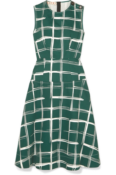 Marni Dresses Printed cotton and flax-blend midi dress