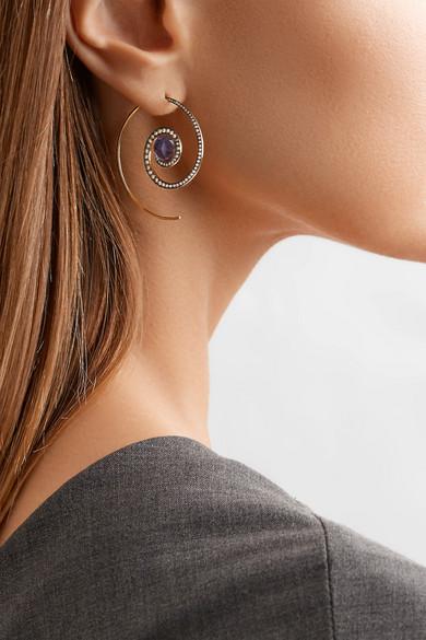 Noor Fares Spiral Moon 18-karat Gold, Diamond And Iolite Earrings