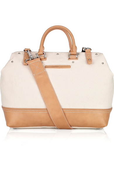 af6e80287a DKNY. Leather and cotton-canvas tote