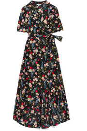 Imogene floral-print washed-silk wrap dress