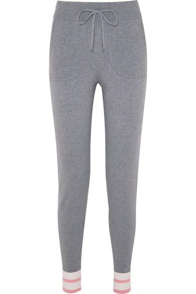 Elsie Striped Stretch-Knit Track Pants, Gray
