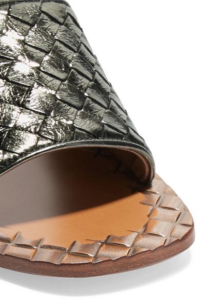 Bottega Veneta in | Pantoletten aus Intrecciato-Leder in Veneta Metallic-Optik d3c700