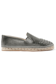 Metallic intrecciato leather espadrilles