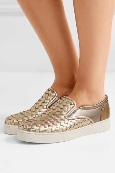 Bottega Veneta aus | Zweifarbige Sneakers aus Veneta Intrecciato-Leder in Metallic-Optik c97fe4
