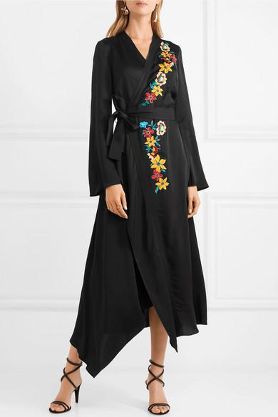 Wrap-effect Embellished Hammered-satin Dress - Black Etro 8hYSua