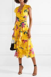 Ruffled floral-print silk crepe de chine midi dress