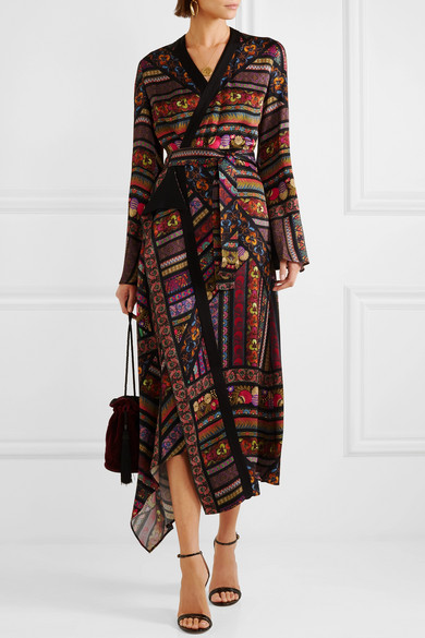 Wrap Effect Printed Crepe De Chine Midi Dress by Etro