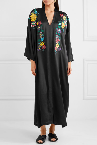 Top Quality Cheap Price Amazon Embroidered Hammered Silk-blend Maxi Dress - Black Etro Outlet Popular Cheap With Paypal Online Store O3FhzoFy