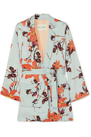 Floral-print satin wrap jacket