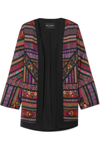 Embroidered Printed Satin Jacket in Black