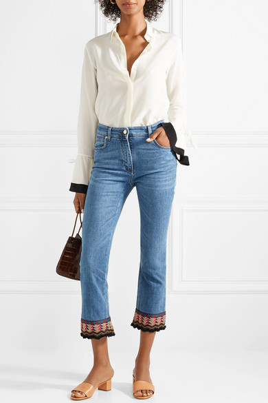 Cropped Embroidered High-rise Flared Jeans - Blue Etro RugABt