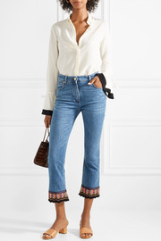 Cropped embroidered high-rise flared jeans
