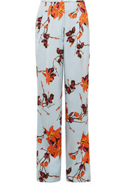 Floral-print satin wide-leg pants