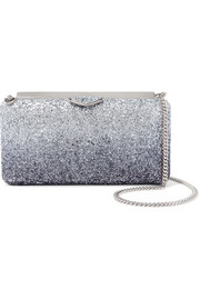 Jimmy Choo Ellipse glittered leather clutch
