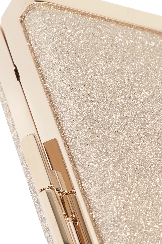 Jimmy Choo J Box glittered canvas clutch