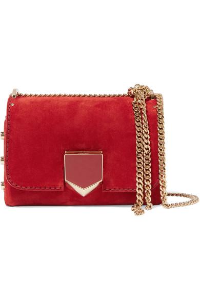 Lockett Petite Suede Shoulder Bag in Red