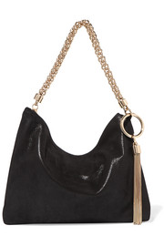 Callie metallic suede shoulder bag