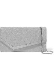 Jimmy Choo Emmie Clutch aus Leder mit Glitter-Finish