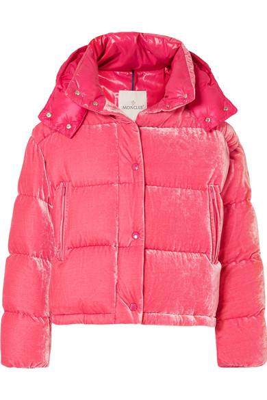Moncler - Quilted Velvet Down Jacket - Pink