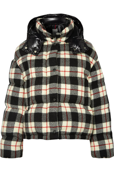 Hooded Quilted Checked Wool And Shell Down Jacket, Multicolor