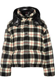 Moncler Hooded quilted checked wool and shell down jacket