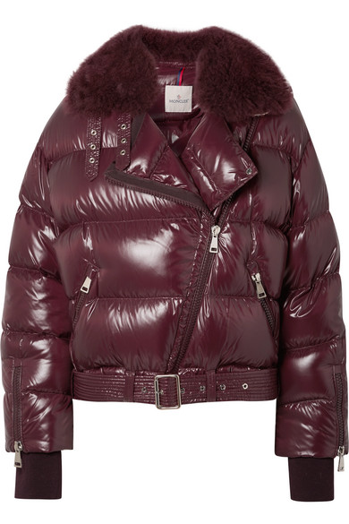 Shearling-Trimmed Quilted Patent-Shell Down Jacket, Purple