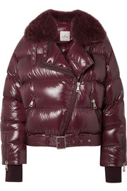 Moncler Shearling-trimmed quilted patent-shell down jacket