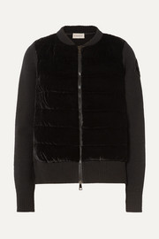Moncler Wool and cashmere-blend and quilted velvet cardigan