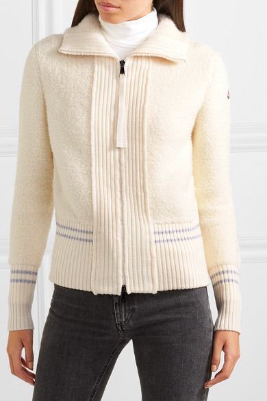 3bdf5faa4 Moncler | Wool-blend bouclé and quilted shell down cardigan | NET-A ...