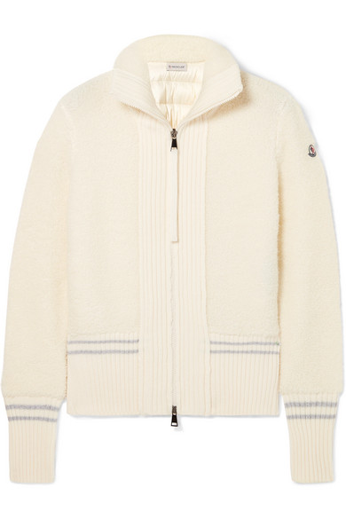Wool-Blend Bouclé And Quilted Shell Down Cardigan in White