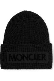 Moncler Flocked grosgrain-trimmed ribbed wool beanie