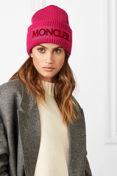 Moncler Hats Flocked grosgrain-trimmed ribbed wool beanie