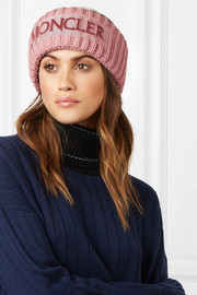 Flocked grosgrain-trimmed ribbed wool headband