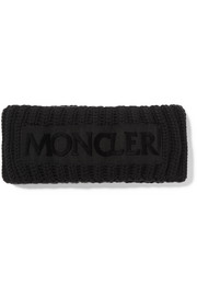 Moncler Flocked grosgrain-trimmed ribbed wool headband