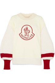 Moncler Genius 1952 embroidered cotton and ribbed wool sweater