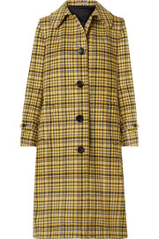 Checked brushed-wool coat