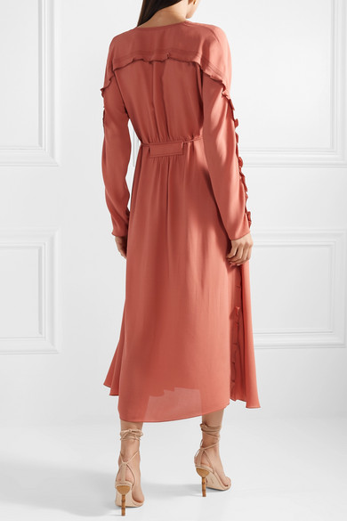 Bottega Veneta Dress Ruffled silk-georgette midi dress