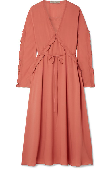 Ruffled Silk-Georgette Midi Dress in Coral