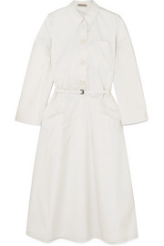 Bottega Veneta Belted cotton-blend poplin midi dress