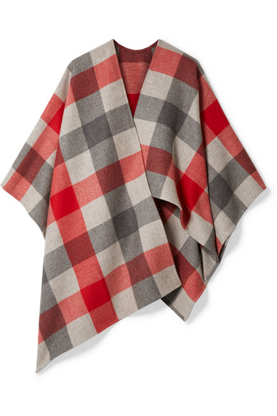 Bottega Veneta - Checked Wool And Cashmere-blend Cape - Red