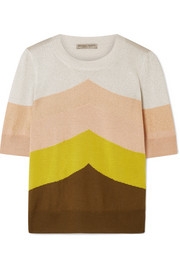 Color-block metallic wool-blend sweater