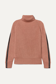 Intrecciato leather-trimmed cotton-blend turtleneck sweater