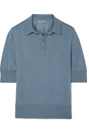 Intrecciato-trimmed wool polo shirt