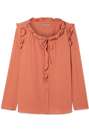 Ruffle-trimmed silk-georgette blouse