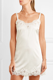 Dolce & Gabbana Lace-trimmed stretch silk-blend satin chemise