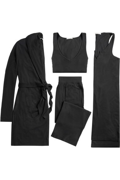 Shopping Online With Mastercard Big Sale Cheap Price Ribbed Stretch-pima Cotton And Modal-blend Travel Set - Black Skin Recommend Free Shipping Pay With Visa Discount Cheapest Price AHpsp6