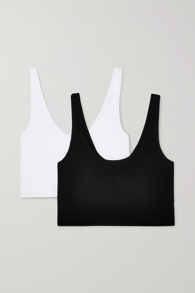 Clio Set Of Two Stretch Organic Pima Cotton-jersey Soft Cup Bras - Black Skin