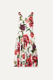 Embellished floral-print cady dress