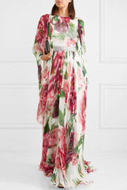 Embellished floral-print silk-chiffon gown