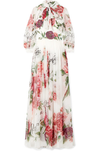 Pussy-Bow Floral-Print Silk-Chiffon Gown in White
